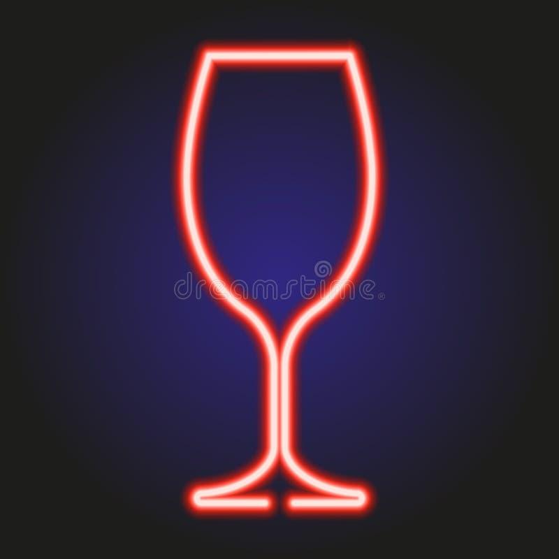 Wina szkła rozjarzony czerwony neonowy wektorowa ilustracja royalty ilustracja