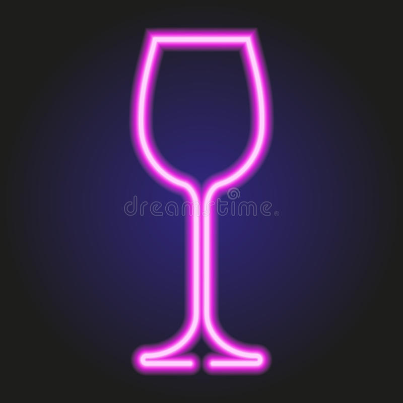 Wina szkła rozjarzony różowy neonowy ilustracja ilustracji