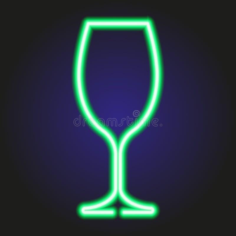 Wina szkła rozjarzony zielony neonowy ilustracja ilustracji
