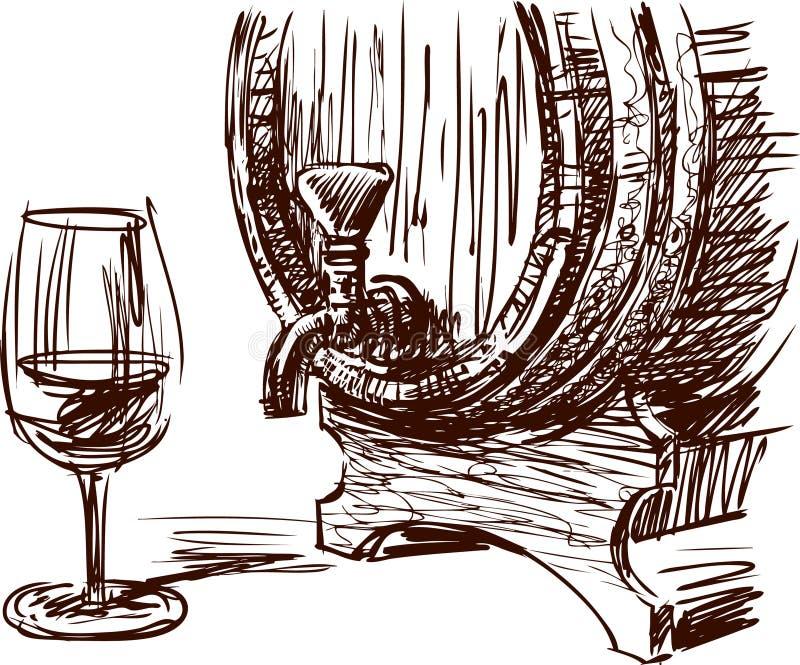 Wina szkło i baryłka ilustracji