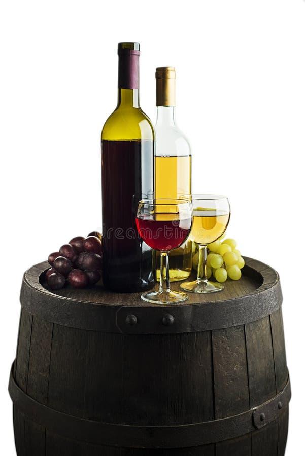 Wina szkło na bielu i bootle fotografia stock