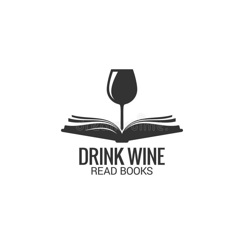 Wina szkło z książkowym pojęciem Napój wino czytająca książka na białym tle ilustracji