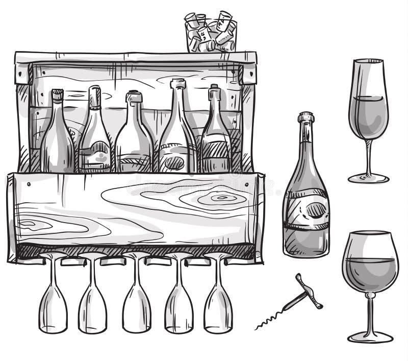 Wina właściciel, butelki i szkła, royalty ilustracja