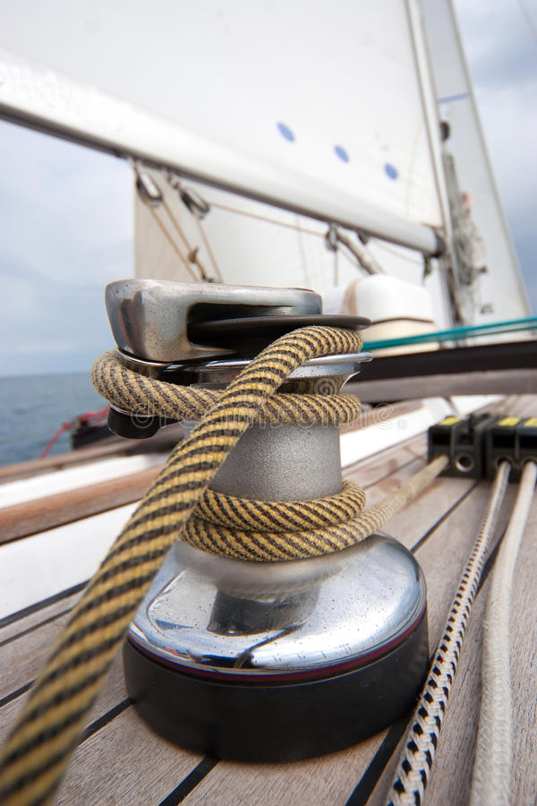 Winch With Rope On Sailing Boat Stock Image Image 17296377