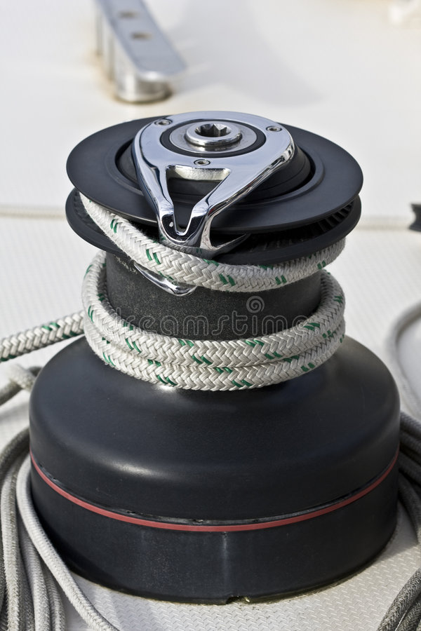 Winch on a sailing boat. royalty free stock images
