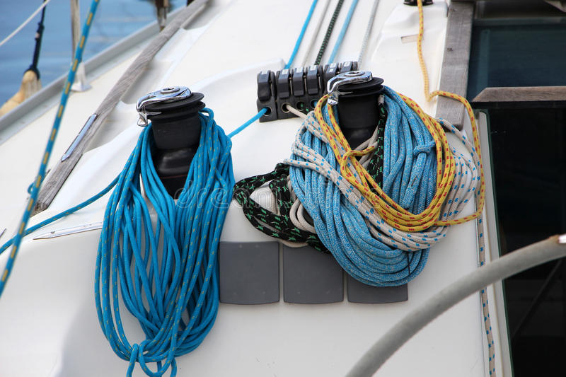 The winches and ropes of a sailboat, detail stock photo