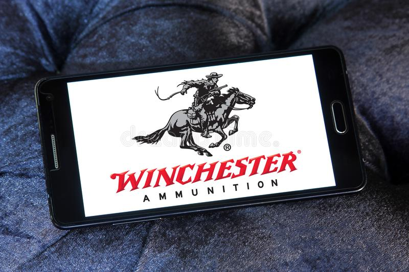 Winchester Arms Company logo. Logo of Winchester Arms Company on samsung mobile. The Winchester Repeating Arms Company is a prominent American maker of repeating stock image
