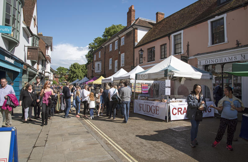 Winchester centrum miasta Anglia rynku UK kramy obrazy stock