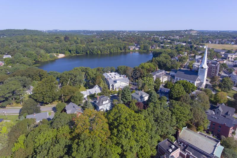 Winchester downtown, Massachusetts, USA. Aerial view of Winchester Center Historic District and First Congregational Church in downtown Winchester, Massachusetts stock photography