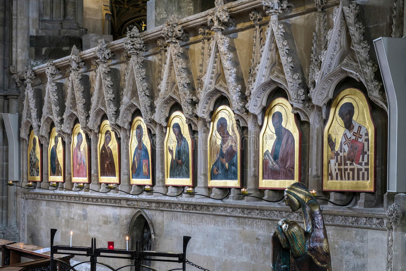 WINCHESTER, HAMPSHIRE/UK - MARCH 6 : Religious Paintings in Winchester Cathedral in Winchester Hampshire on March 6, 2016 stock photos