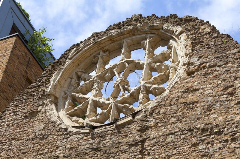 Winchester Palace, rose window, London, United Kingdom. It was a 12th-century building which served as the London townhouse of the Bishops of Winchester royalty free stock images