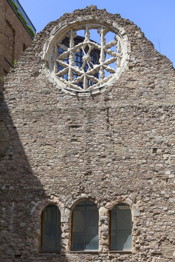 Winchester Palace, rose window, London, United Kingdom. It was a 12th-century building which served as the London townhouse of the Bishops of Winchester royalty free stock image