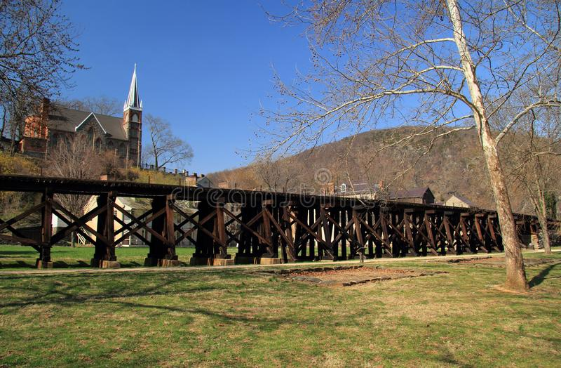 Winchester and Potomac Railroad Trestle in Harpers Ferry. The Winchester and Potomac Railroad, of which the trestle passing through Harpers Ferry is pictured royalty free stock image