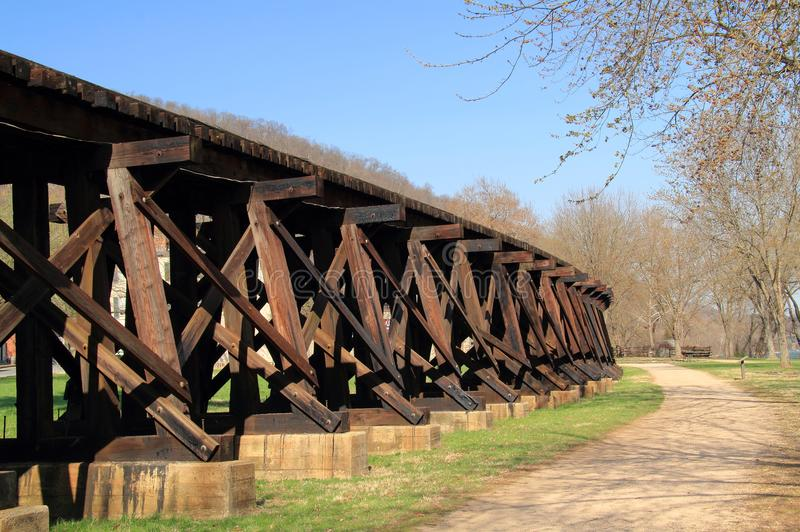 Winchester and Potomac Railroad Trestle in Harpers Ferry. The Winchester and Potomac Railroad, of which the trestle passing through Harpers Ferry is pictured stock image