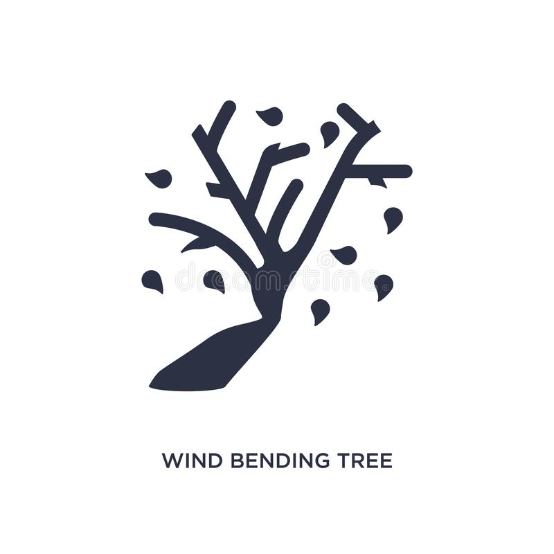 wind bending tree icon on white background. Simple element illustration from ecology concept royalty free illustration