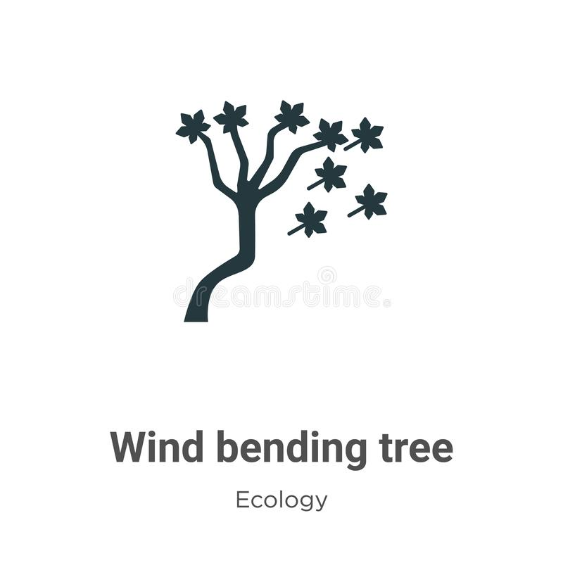 Wind bending tree vector icon on white background. Flat vector wind bending tree icon symbol sign from modern ecology collection vector illustration
