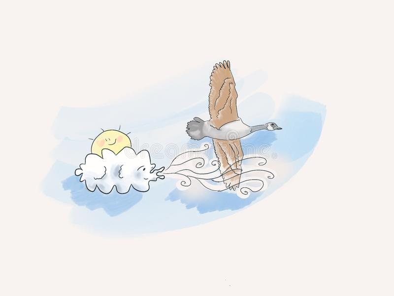 Wind beneath my wings - Cloud blows a goose royalty free illustration