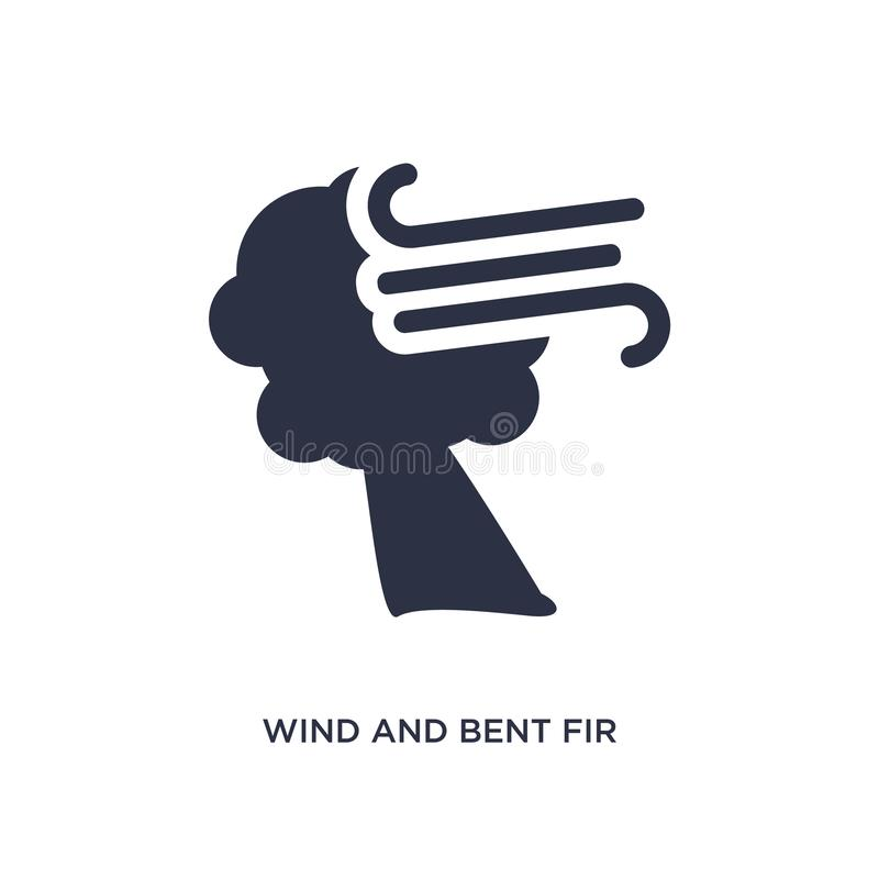 Wind and bent fir icon on white background. Simple element illustration from meteorology concept. Wind and bent fir icon. Simple element illustration from vector illustration