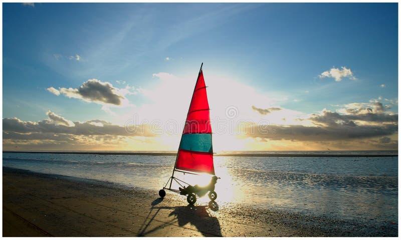 Wind bike on beach stock image