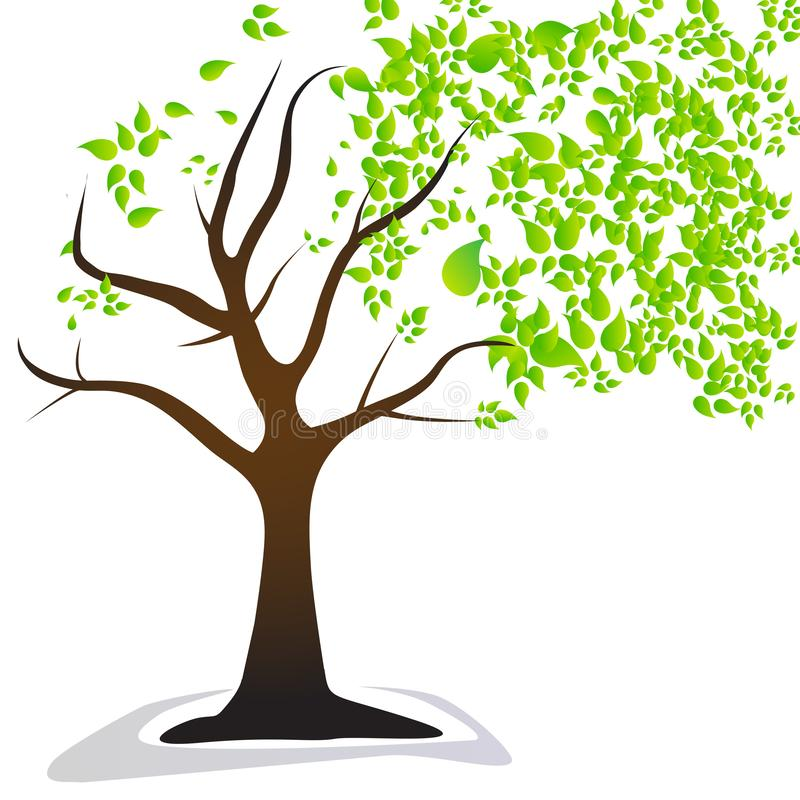 Wind Blowing Leaves Off Tree royalty free illustration