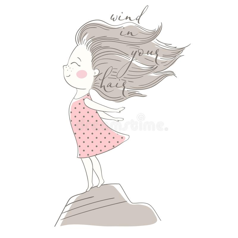Free Wind Blows Hair Of Cute Girl Royalty Free Stock Photography - 121959027