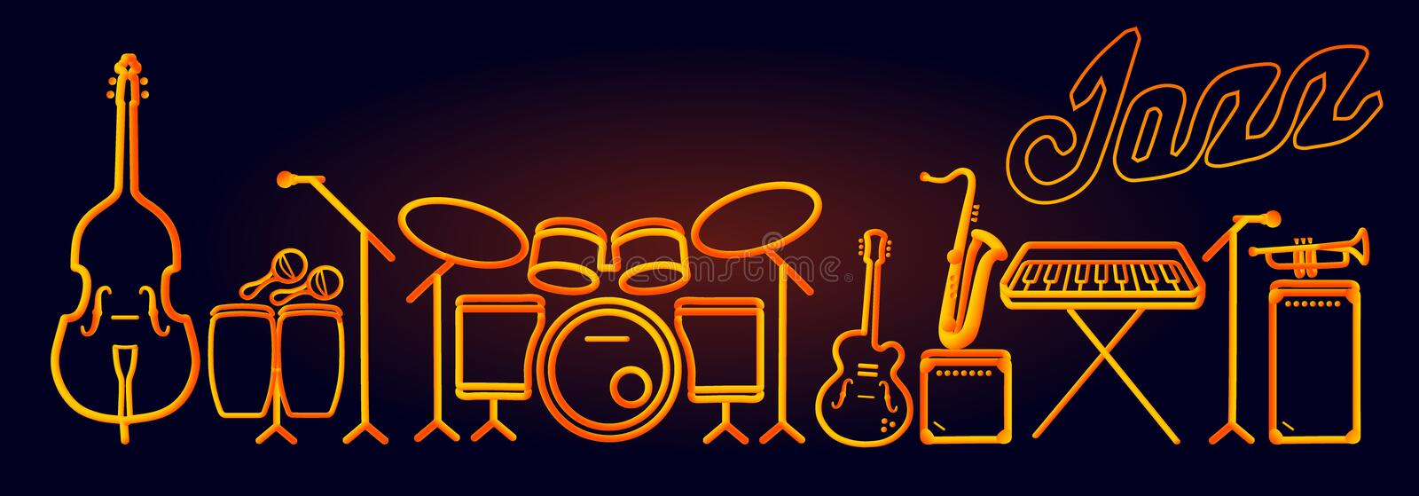 Wind brass instruments neon tubed silhouette abstract design concept performance set vector illustration
