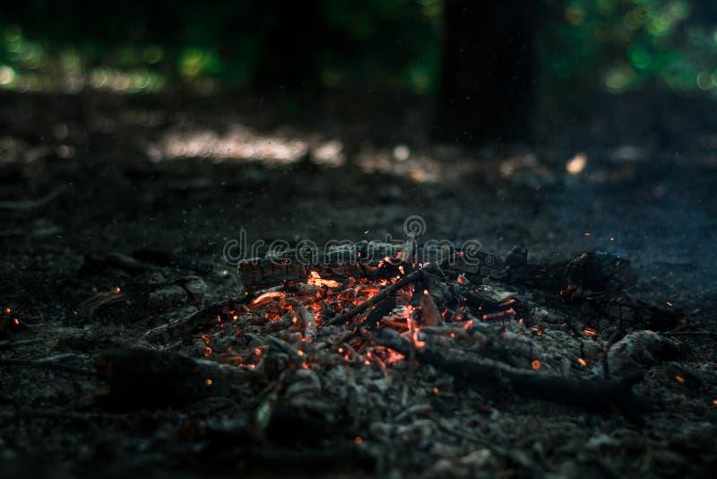 Wind brennt auf Kohlen durch stockfotografie