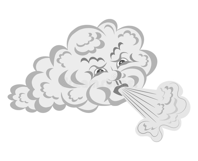 Wind brennt von der Wolke durch vektor abbildung