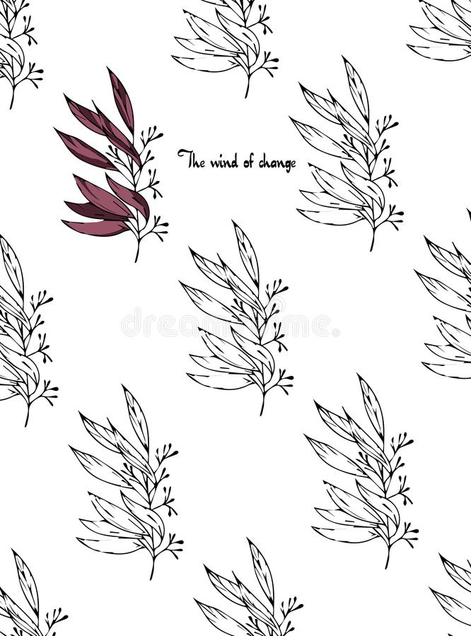 The wind of change. Postcard with branches and leaves. Stylish and modern postcard. A pattern with black and white flowers royalty free stock image