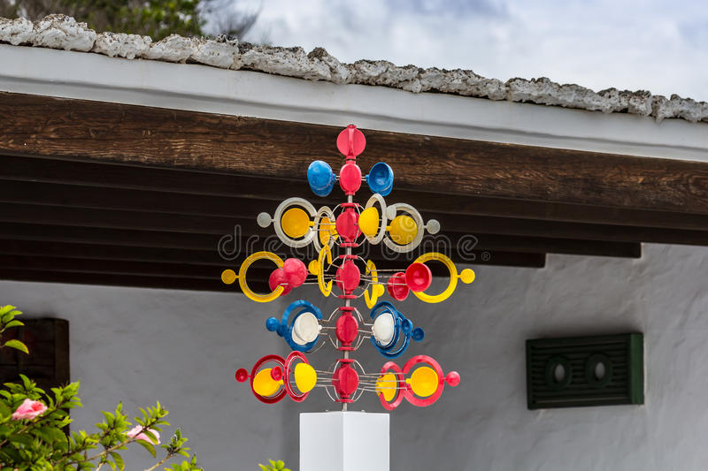 Wind chime. Colorful wind chime in front of the covered terrace stock photos