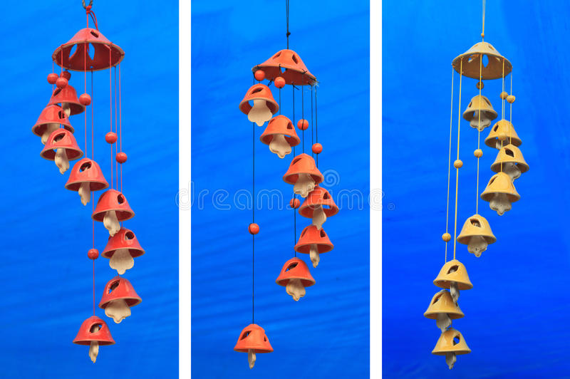 Wind Chimes On Blue Background Stock Images