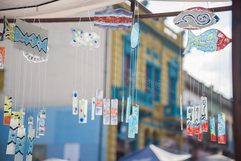 Wind Chimes in La Boca. Wind chimes made of fused colored glass in a craft fair in La Boca, Buenos Aires, Argentina royalty free stock images
