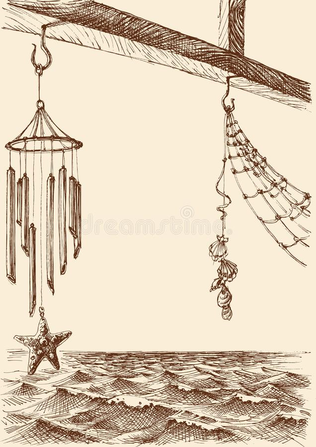 Wind chimes on the porch of a beach house stock illustration