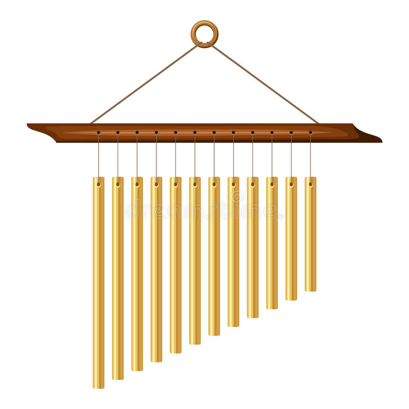 Wind chimes. Vector illustration. Vector wind chimes isolated on white vector illustration