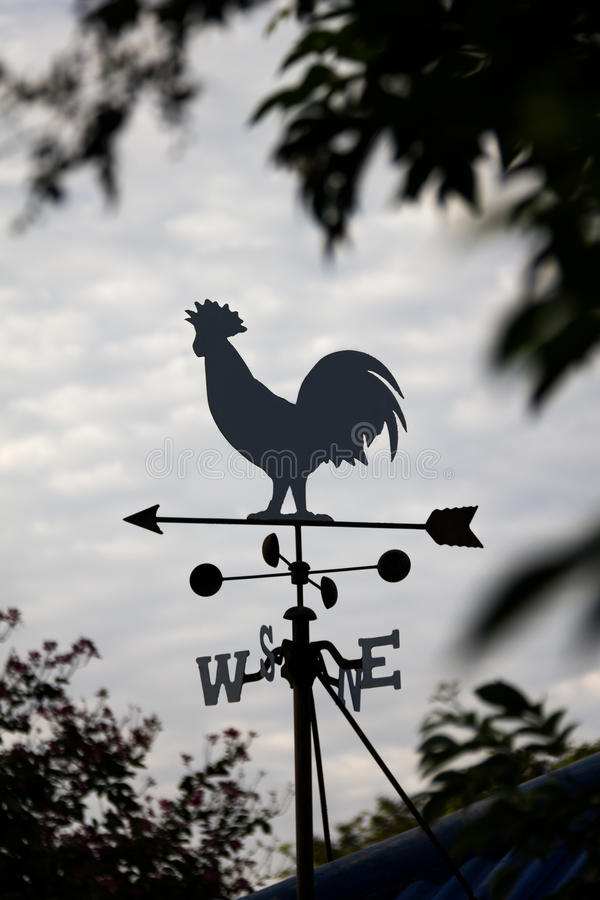 Wind direction Weather vane silhouette royalty free stock image