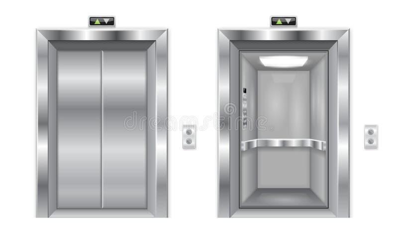 Wind drzwi Metal zamykający i otwarte drzwi ilustracji