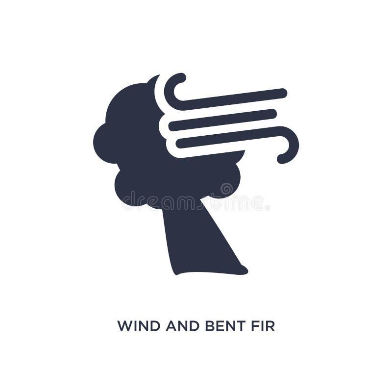 wind en gebogen sparpictogram op witte achtergrond Eenvoudige elementenillustratie van meteorologieconcept vector illustratie