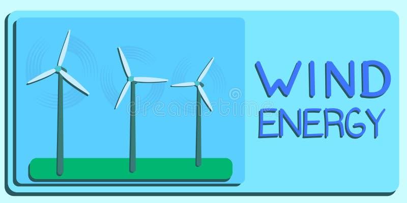 Wind-Energie, alternative Energie, Ökologie und Generator-Vektor ENV stock abbildung