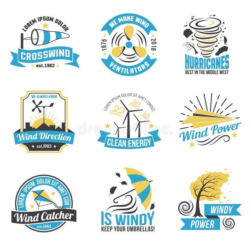 Wind-Energie-Energie-flache Emblem-Sammlung lizenzfreie abbildung