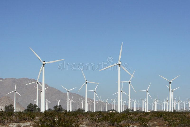 Wind Energy. Wind fields in the desert of California stock photography