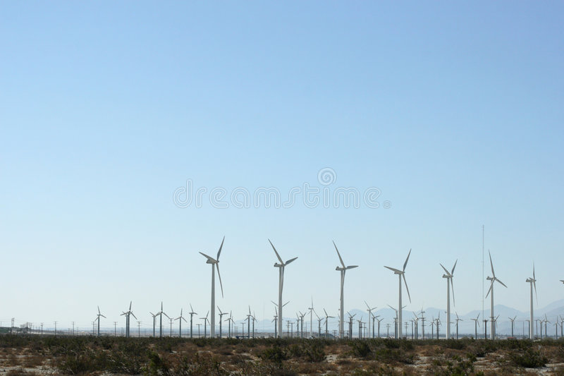Wind Energy. Wind fields in the desert of California royalty free stock photo