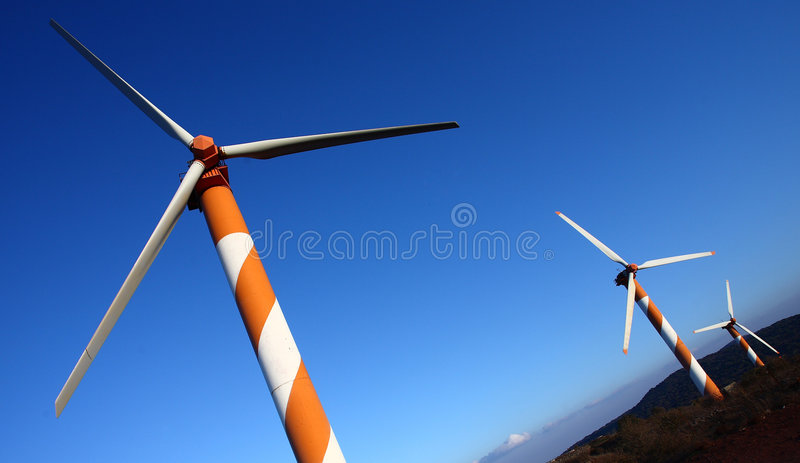 Wind Energy. Wind turbine making green electricity stock photography