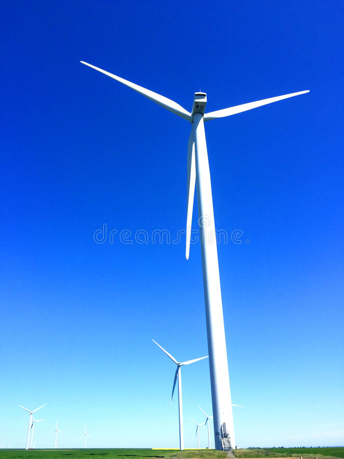 Wind energy. For a clean environment on a sunny day stock photo