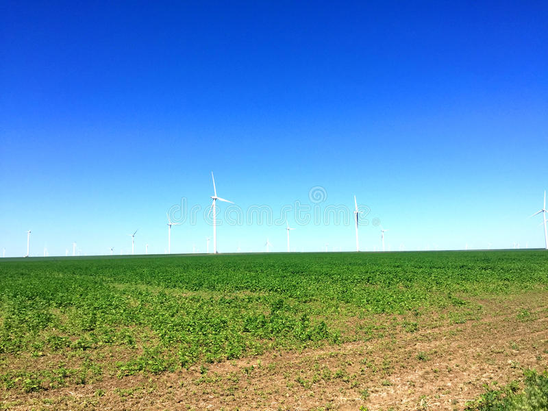 Wind energy. For a clean environment on a sunny day stock image