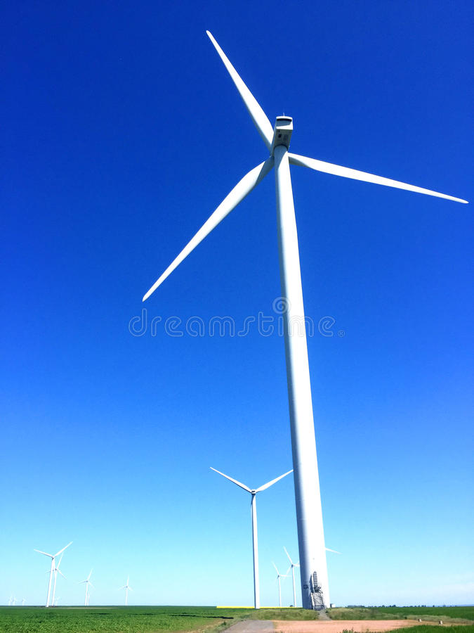 Wind energy. For a clean environment on a sunny day royalty free stock photo