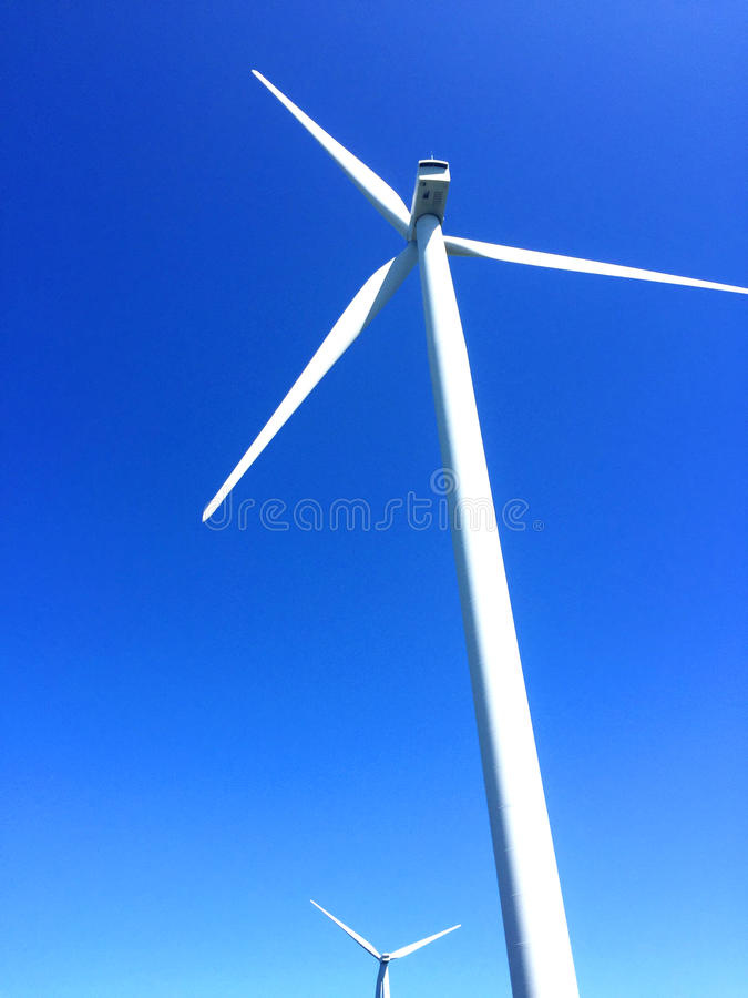 Wind energy. For a clean environment on a sunny day royalty free stock photos