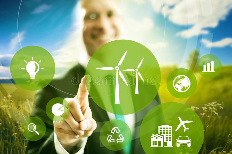 Wind energy concept stock photography