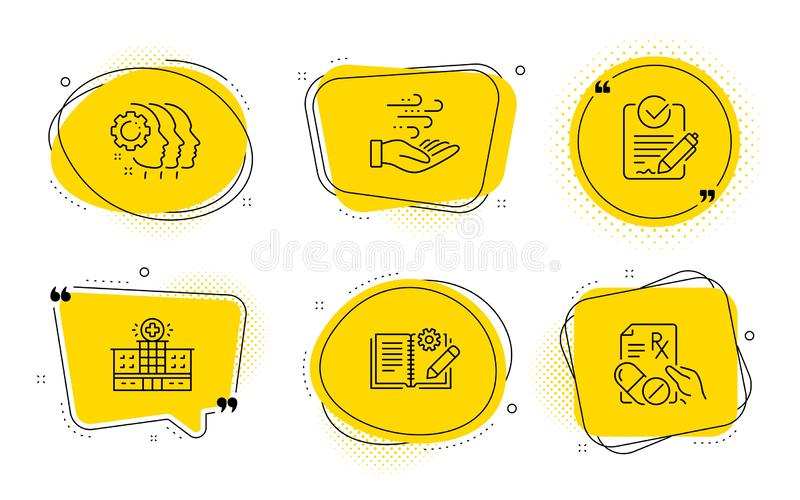 Employees teamwork, Hospital building and Rfp icons set. Vector. Wind energy, Engineering documentation and Prescription drugs signs. Chat bubbles. Employees royalty free illustration