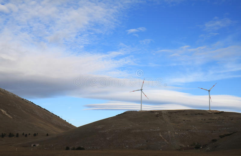 Wind energy in Gran Sasso National Park, Italy stock photos