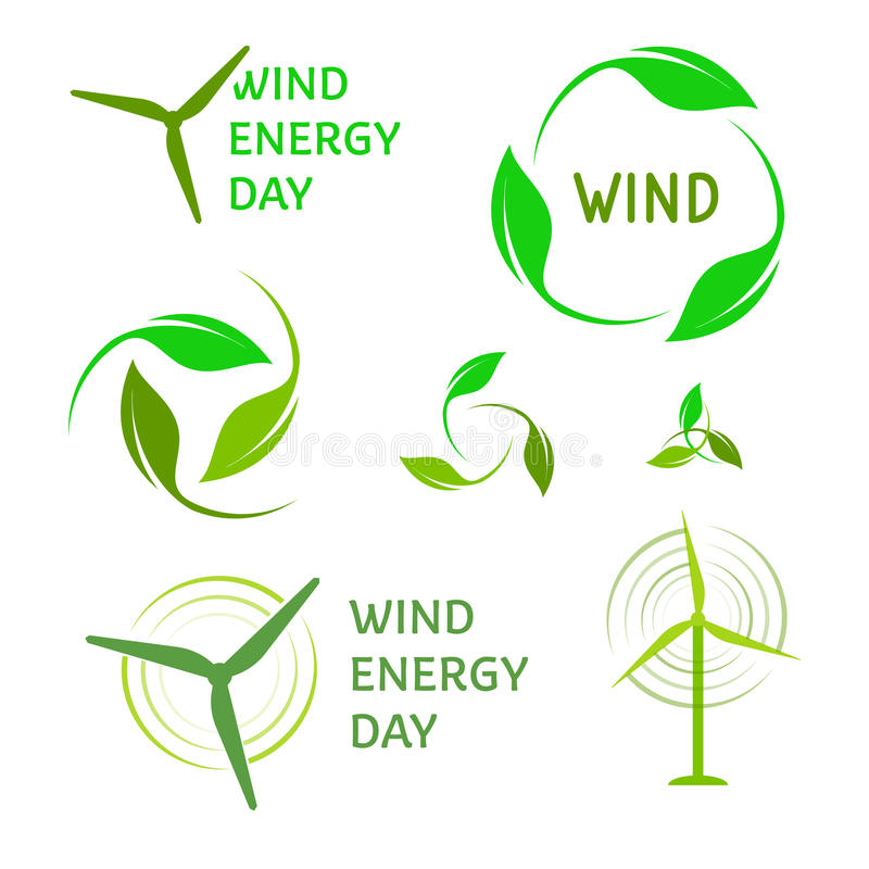 Wind energy logos set. Green logo collection. vector illustration
